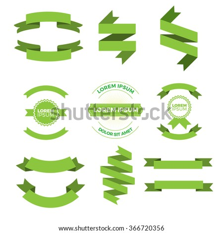 Set of vector ribbons, banners, badges. Vector retro design elements. Vector illustration. - stock vector