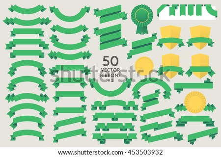 Set of 50 vector Ribbons. Flat design elements collection for Infographic, Print, Web, etc.. Vector Graphics - stock vector