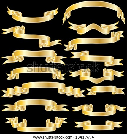Set of vector ribbons with stripes and gradients - stock vector