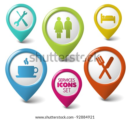 Set of vector round 3D pointers for various services - stock vector