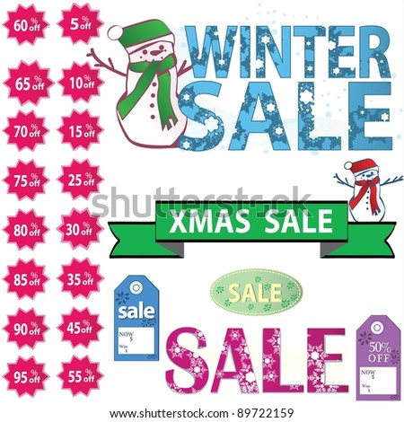set of vector sale price tags - stock vector