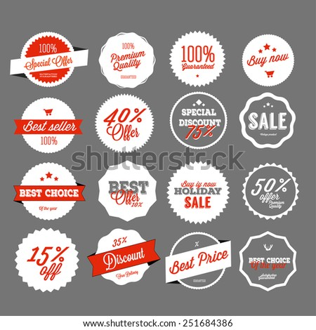 Set of vector sales labels and sticker design - stock vector