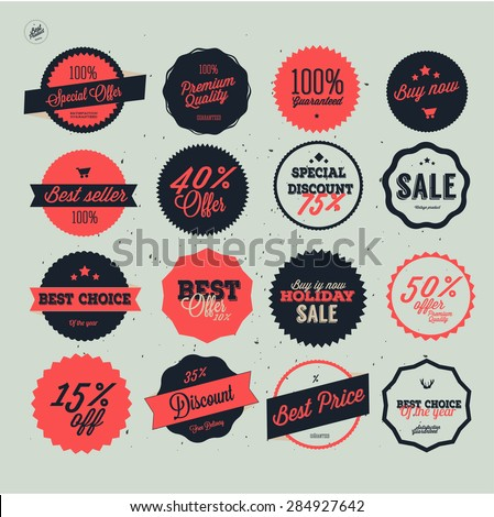 Set of vector sales labels and sticker design badges offer