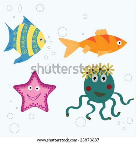 set of vector sea animals - fish, octopus, sea star