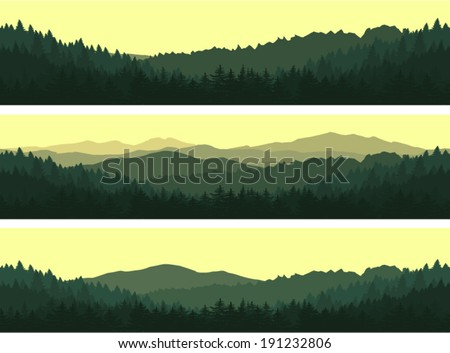 Set of vector seamless background. Green Mountain landscape in the summer evening. - stock vector