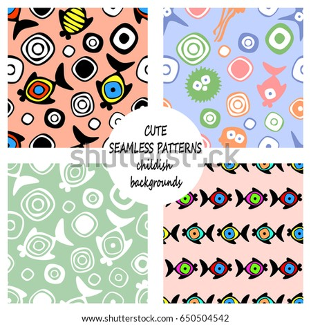 Set of vector seamless decorative pattern with hand drawn fish, starfish, octopus. Cute childlike backgrounds. Template for wrapping, fabric, cover. Series of hand drawn decorative seamless patterns.