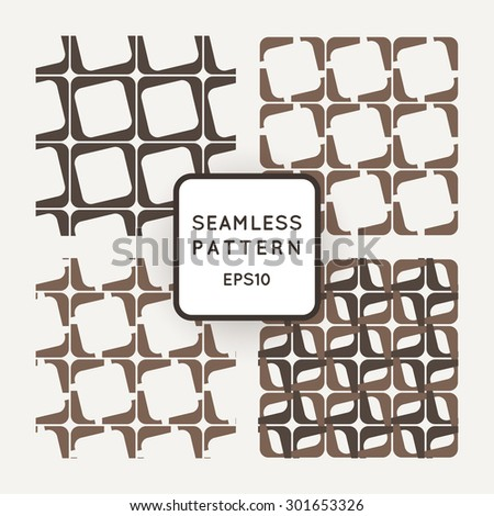 Set of vector seamless pattern of interlocking square frames - stock vector