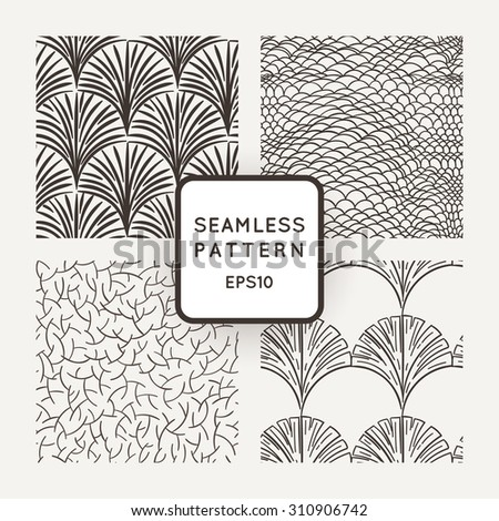 Set of vector seamless patterns: a hand scales, branches and leaves - stock vector