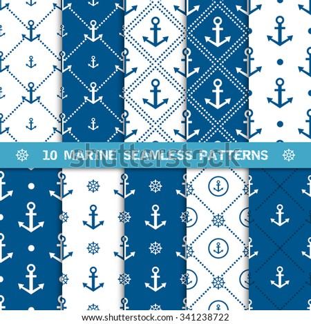 Set of vector seamless patterns with anchor and helm or steering wheel. Sea or marine and nautical backgrounds in navy blue and white colors. Design element for invitation, greeting card, fabric. - stock vector