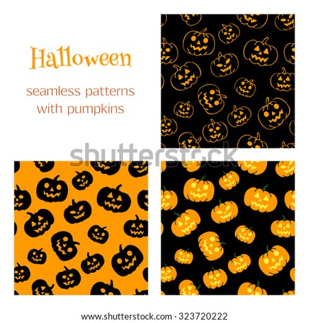 Set of vector seamless patterns with traditional carved pumpkins. Perfect backgrounds for your Halloween design.