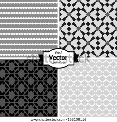Set of vector seamless retro patterns. Geometric background.