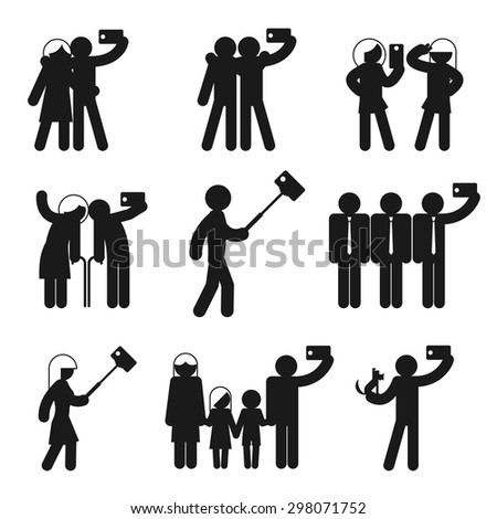 Set of vector selfie icons. Camera phone, people and mobile photography, family man and woman and child illustration - stock vector