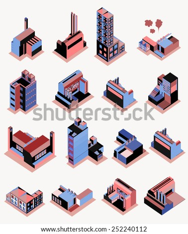 Set of vector several isometric buildings with isolated background. apartment, skyscraper, office. make custom map or info graphic - stock vector