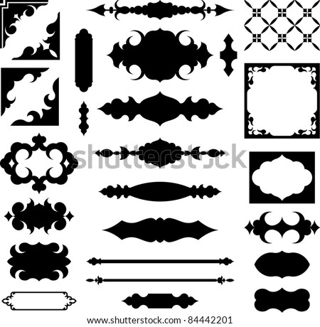 Set of vector shapes and design elements - stock vector