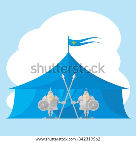 Set of vector shapes funny toy medieval knight with a spear and shield in the hands backdrop on tent isolated on white background - stock vector