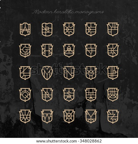 Set of vector shield shape monograms. Collection of modern heraldic logos. High quality design elements. - stock vector