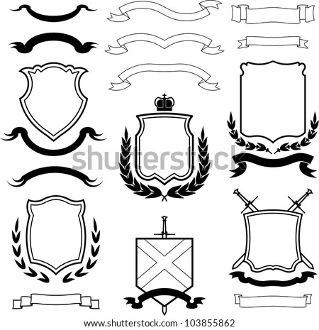 Set of vector shields, coats of arms and laurel wreaths - stock vector