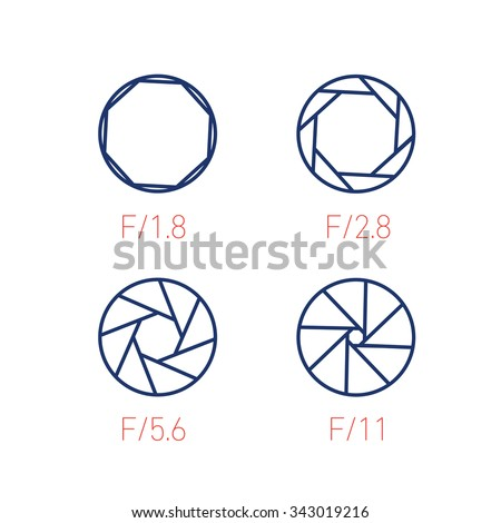 set of vector shutter or aperture in photography and camera linear icon and infographic | illustrations of gear and equipment for professional photographers and amateurs on white background - stock vector