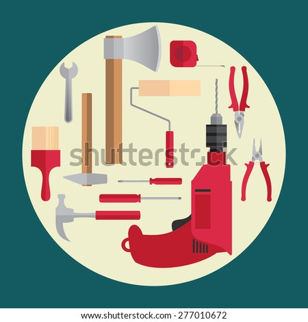 Set of vector signs of tools. Including pliers, screwdriver, brush, hatchet, key, hammer, drill, roller, roulette. - stock vector