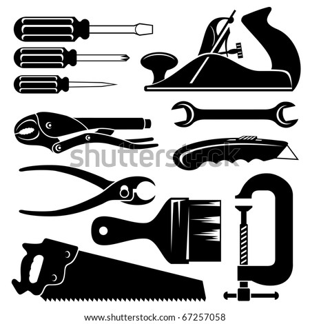 set of vector silhouette icons of hend tools
