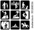 set of vector silhouette icons on the active leisure - stock vector