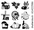 set of vector silhouette images of fall festivals and harvest - stock vector