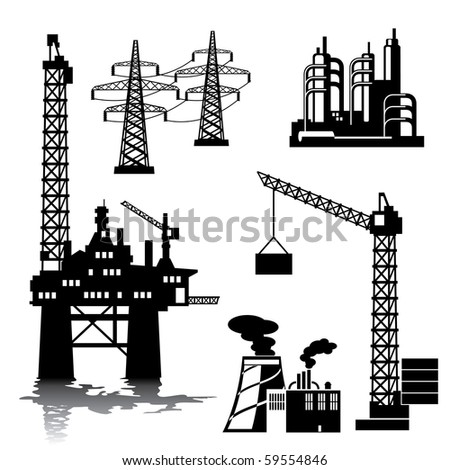 set of vector silhouette images of industrial buildings and structures - stock vector
