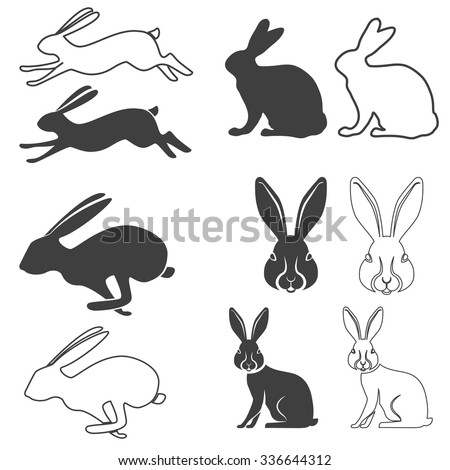 Set of vector silhouette of the rabbit, hare. Hare hunting. Rabbit silhouettes. Vector illustration. - stock vector
