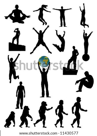 set of vector silhouettes - stock vector