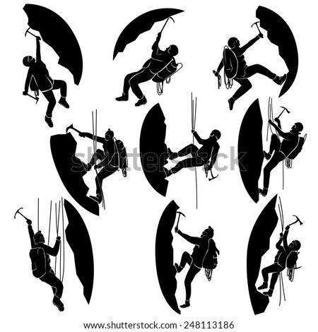 Set of vector silhouettes alpinists (climbers) with ice ax.