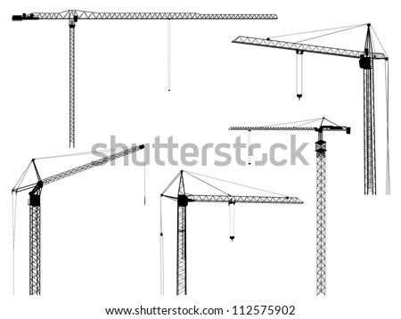 Set of vector silhouettes of construction crane tower, isolated on white. - stock vector