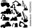 Set of vector silhouettes of  construction machine - stock vector