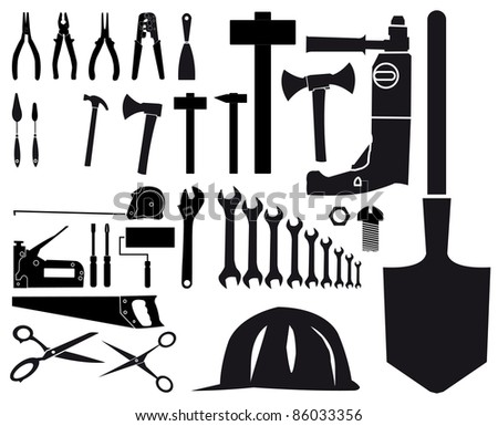 Set of vector silhouettes of different tools on white background - stock vector