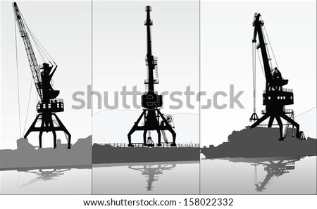 Set of vector silhouettes of 3 port cranes - stock vector