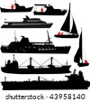 Set of vector silhouettes of ships and yachts - stock photo