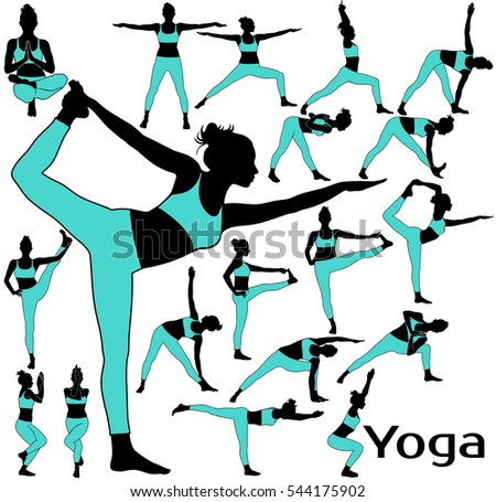Set of vector silhouettes of slim woman in colored costume stretching her body and practicing yoga exercises for legs.