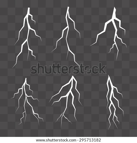 Set of vector silhouettes of thunderstorm lightning isolated. vector illustration - stock vector