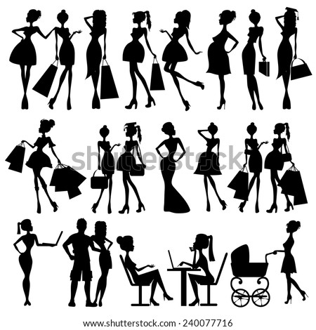 set of vector silhouettes of women - stock vector