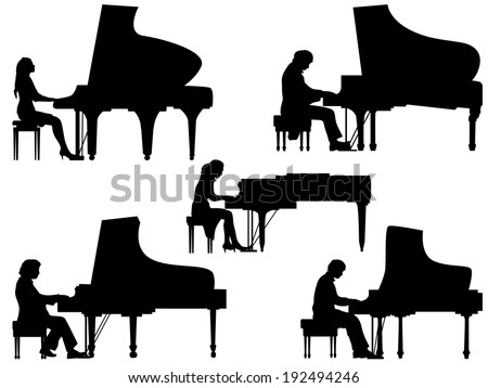 Set of vector silhouettes pianist at the piano. - stock vector