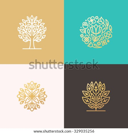 Set of vector simple and elegant logo design templates in trendy linear style- floral shops or studios, wedding florists, creators of custom floral arrangements, gardening businesses  - stock vector