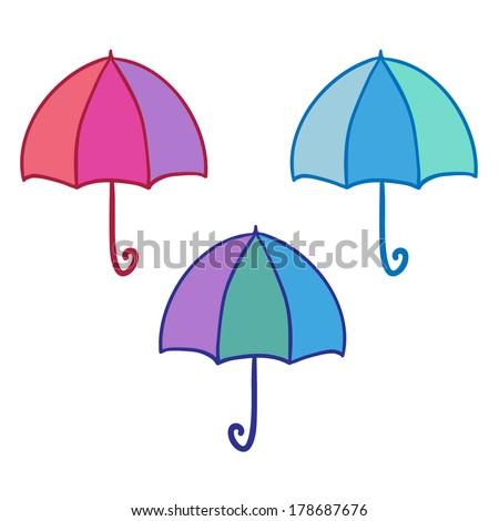 Set of vector simple umbrellas - stock vector
