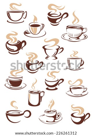 Set of vector sketch steaming hot cups of coffee or tea in brown and white with different shapes as design elements for a coffee house or restaurant - stock vector
