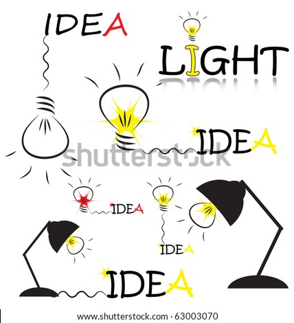 set of vector sketch with bulb and idea words - stock vector