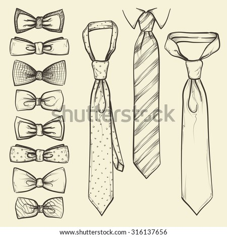 set of vector sketched ties and bows - stock vector