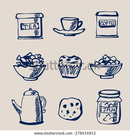 Set of vector sketches Tea and Coffee. Collection of doodle objects Tea time. Cookie, cake, tea and coffee boxes, kettle, cup, sweets, jam jar and lump sugar. - stock vector