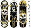 Set of vector skull themed skateboards. Skulls were hand rendered and intricately detailed. Designs were created with various paint splatters, scribbles and heavily distressed grunge textures. - stock