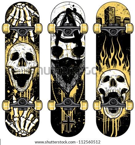 Set of vector skull themed skateboards. Skulls were hand rendered and intricately detailed. Designs were created with various paint splatters, scribbles and heavily distressed grunge textures. - stock vector