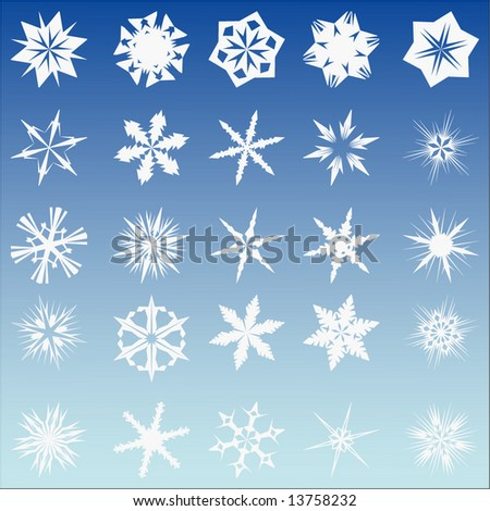 Set of 25 vector snow flakes - stock vector