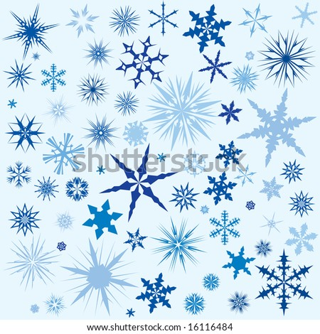 Set of vector snow flakes in different colors for use as a background - stock vector