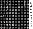 Set of vector snowflakes isolated on black background. 100 snowflake shapes. - stock vector